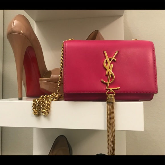 561cb58e8b0f Authentic Small Hot Pink YSL tassel Monogram Purse.  M 5b48650d8ad2f928a96be57b